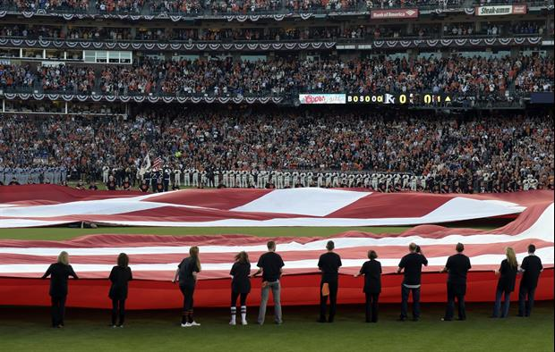 American Flag Rips During World Series National Anthem