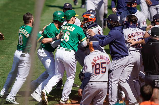 Fight Breaks Out Between During A's Vs. Astros Game