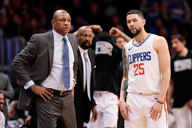 Rockets guard Austin Rivers Confronts Fan Who Rips His Dad Clippers head coach Doc Rivers...Saying H