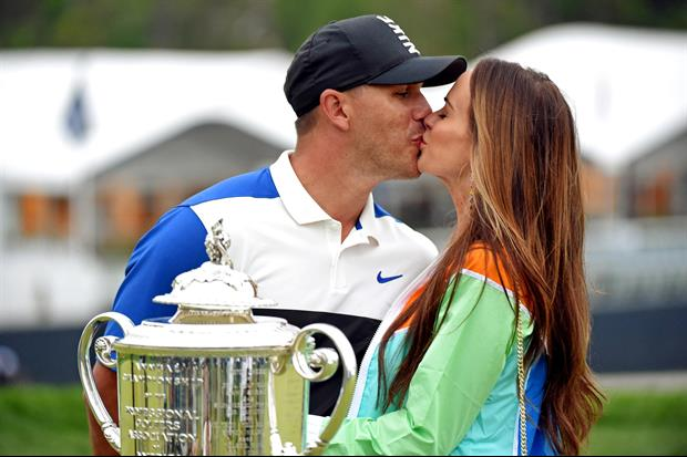 Brooks Koepka's Girlfriend Jena Sims Finally Got Her Kiss After His PGA Championship Win