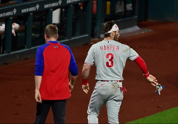 Phillies All-Star Bryce Harper took a 97 MPH fastball to the face...