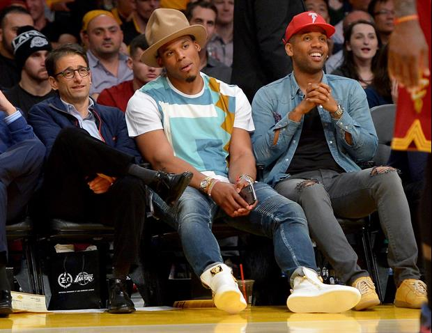 Cam Newton Wore An Obnoxiously Big Hat To Lakers Vs. Cavs Game