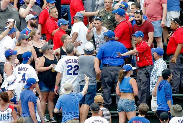 Cubs Fans Brawl In Wrigley Field Bleachers, Dude Goes Flying Several Rows Down