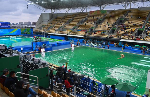 Have You Seen Rio's Diving Pool Yet? Because The Water Is Green