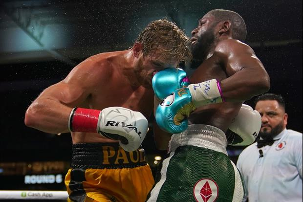 Here's Floyd Mayweather Knocking Logan Paul Out, But Holding Him Up To Finish The Fight