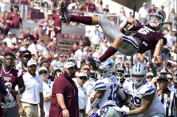 Another Look At Mississippi State QB Garrett Shrader Flying In Air After Hit