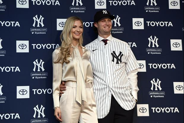 Yankees Pitcher Gerrit Cole's Wife Amy Helping Her Husband Get In Throws During Quarantine