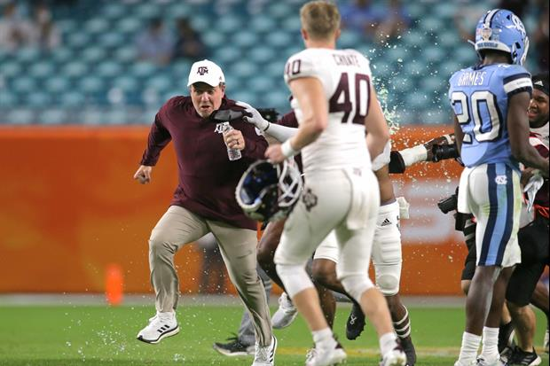 Watch Jimbo Fisher Outrun His Gatorade Bath After Winning The Orange Bowl