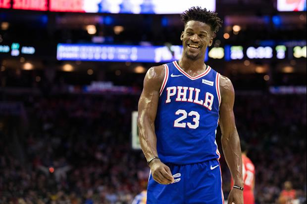 Check out Philadelphia 76ers star Jimmy Butler's pre-game routine where he tells the team's equipmen