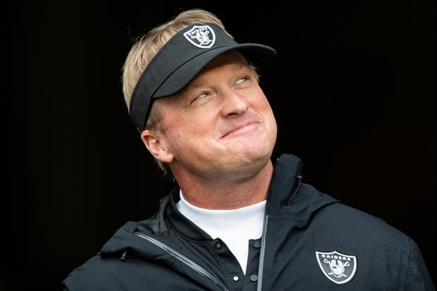How Frickin' Happy Was Jon Gruden Leading His Team's Locker Room Celebration Dance/Drill