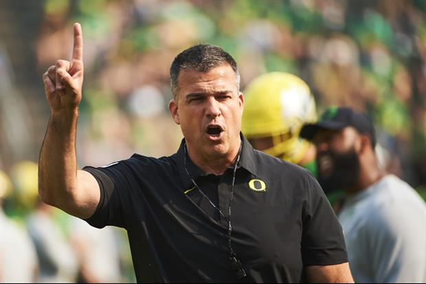 Here's Oregon Coach Mario Cristobal Telling His Team To Respect Ohio State Logo After Win