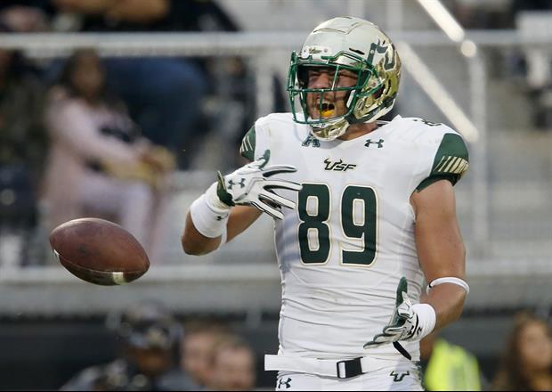 USF TE Mitchell Wilcox Takes Vicious Football To The Head In The Combine Drill