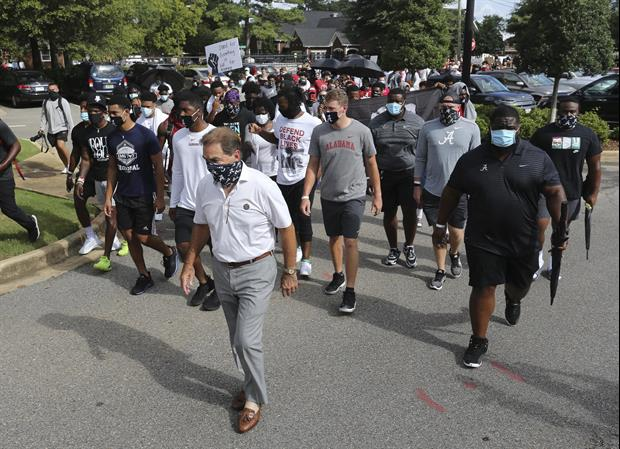 Nick Saban Led His Alabama's Team On A March For Social Justice On Monday