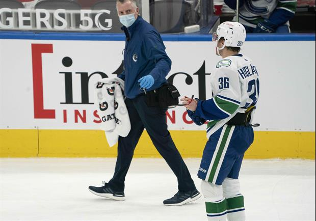 Watch Canucks' Nils Hoglander's Forehead Explode After Taking Slapshot To The Head