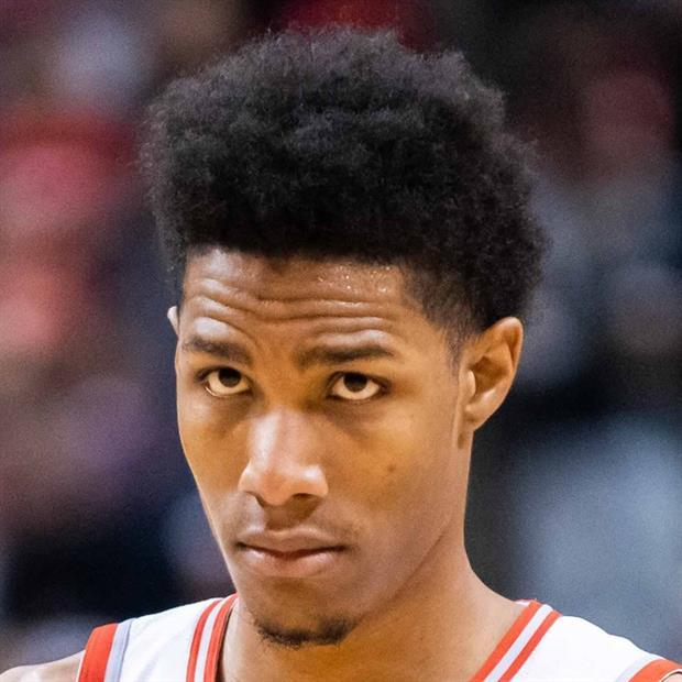 Toronto Raptors' Patrick McCaw was so eager to get into last night's game, he forgot to take off his