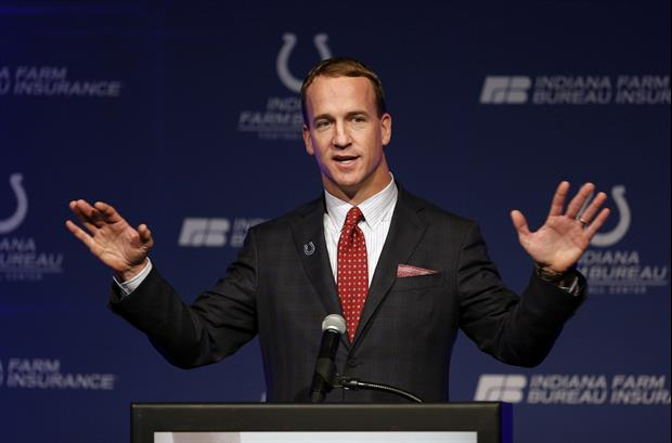 Peyton Manning Showing Off His Retirement Six-Pack Abs.