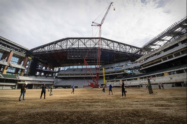 The Texas Rangers' new stadium, Globe Life Field, caught on fire Saturday afternoon...