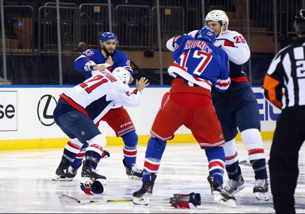 Watch Rangers And Capitals Brawl At The Opening Puck Drop