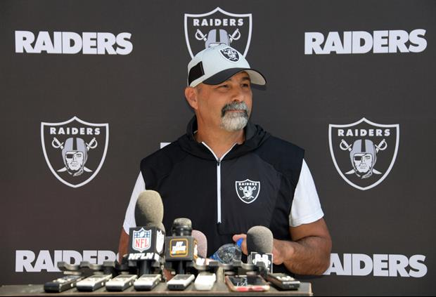Jon Gruden's Head Coach Replacement Chokes Back Tears In First Presser, 'Holy S***'