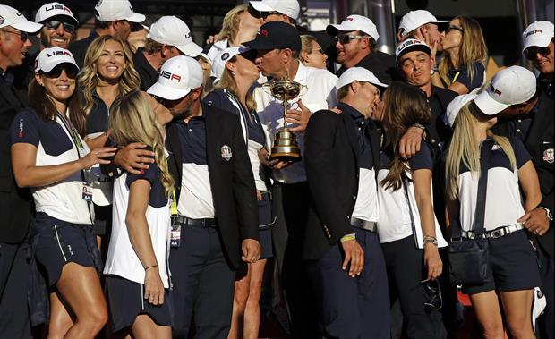 Rickie Fowler Looks Funny In Ryder Cup Pic While Teammates Kiss Their Wives