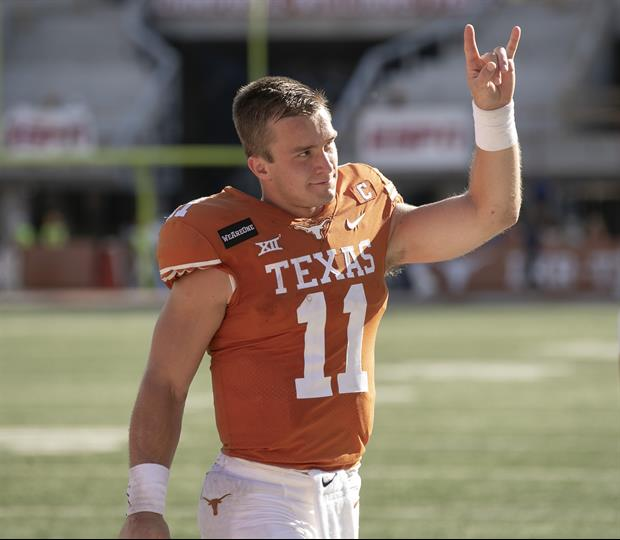 Watch Texas QB Sam Ehlinger Sling A Football 77-Yards