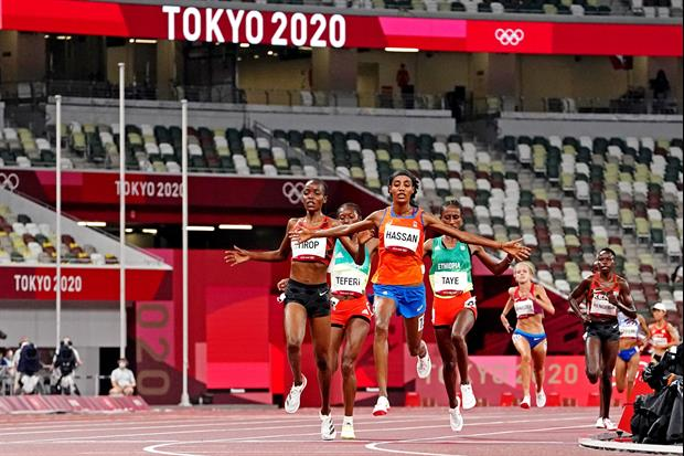 Check out this crazy finish in Round 1 of the women's 1500m at the Summer Olympics in Tokyo, Japan o
