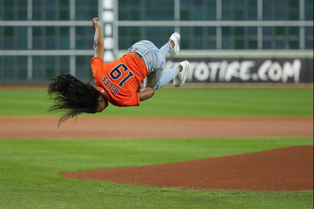 Simone Biles's First Pitch At The World Series Involved This Amazing Flip