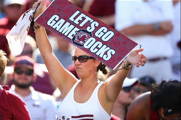 North Carolina fans and South Carolina fans had it out at this tailgate this weekend...