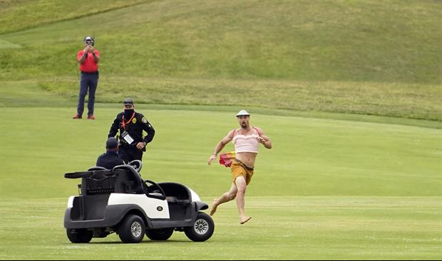 Streaker Ran Onto The Course At The U.S. Open And Starts Hitting Balls......