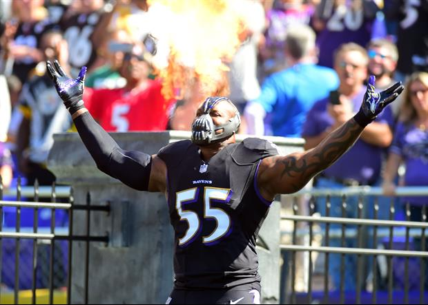Ravens LB Terrell Suggs Took The Field On Sunday In A Bane Mask