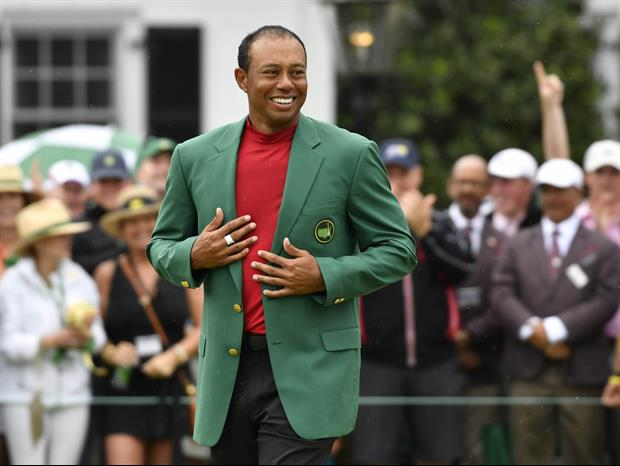 Of Course Tiger Woods Is Wearing His Masters Jacket With Basketball Shorts In Restaurants
