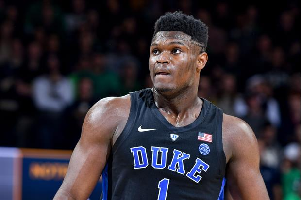 Duke's Zion Williamson Jumped Out Of The Building To Block This 3-Point Shot